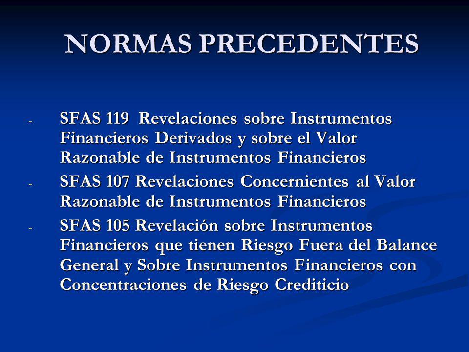 NORMAS PRECEDENTES SFAS 119 Revelaciones sobre Instrumentos Financieros Derivados y sobre el Valor Razonable de Instrumentos Financieros.