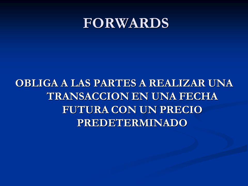 FORWARDS OBLIGA A LAS PARTES A REALIZAR UNA TRANSACCION EN UNA FECHA FUTURA CON UN PRECIO PREDETERMINADO.