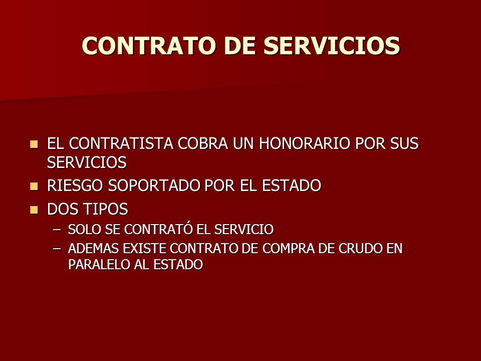 CONTRATO DE SERVICIOS EL CONTRATISTA COBRA UN HONORARIO POR SUS SERVICIOS. RIESGO SOPORTADO POR EL ESTADO.