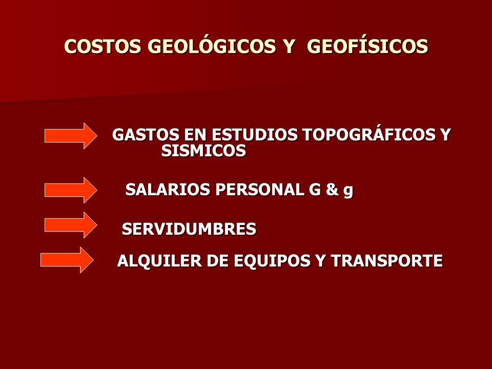 COSTOS GEOLÓGICOS Y GEOFÍSICOS