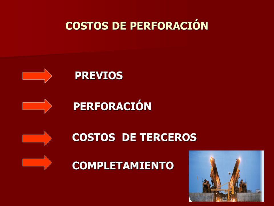 PREVIOS COSTOS DE PERFORACIÓN PERFORACIÓN COSTOS DE TERCEROS