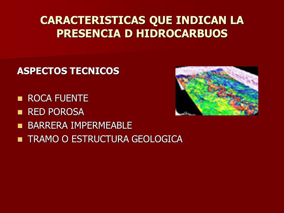 CARACTERISTICAS QUE INDICAN LA PRESENCIA D HIDROCARBUOS