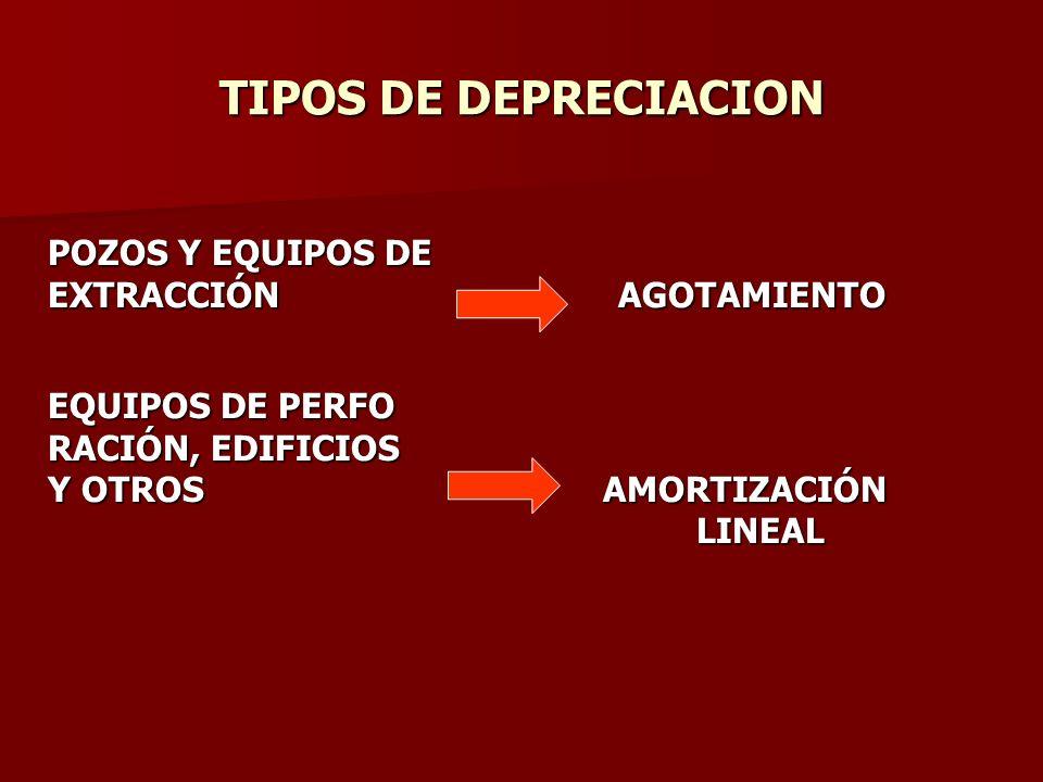 TIPOS DE DEPRECIACION POZOS Y EQUIPOS DE EXTRACCIÓN AGOTAMIENTO