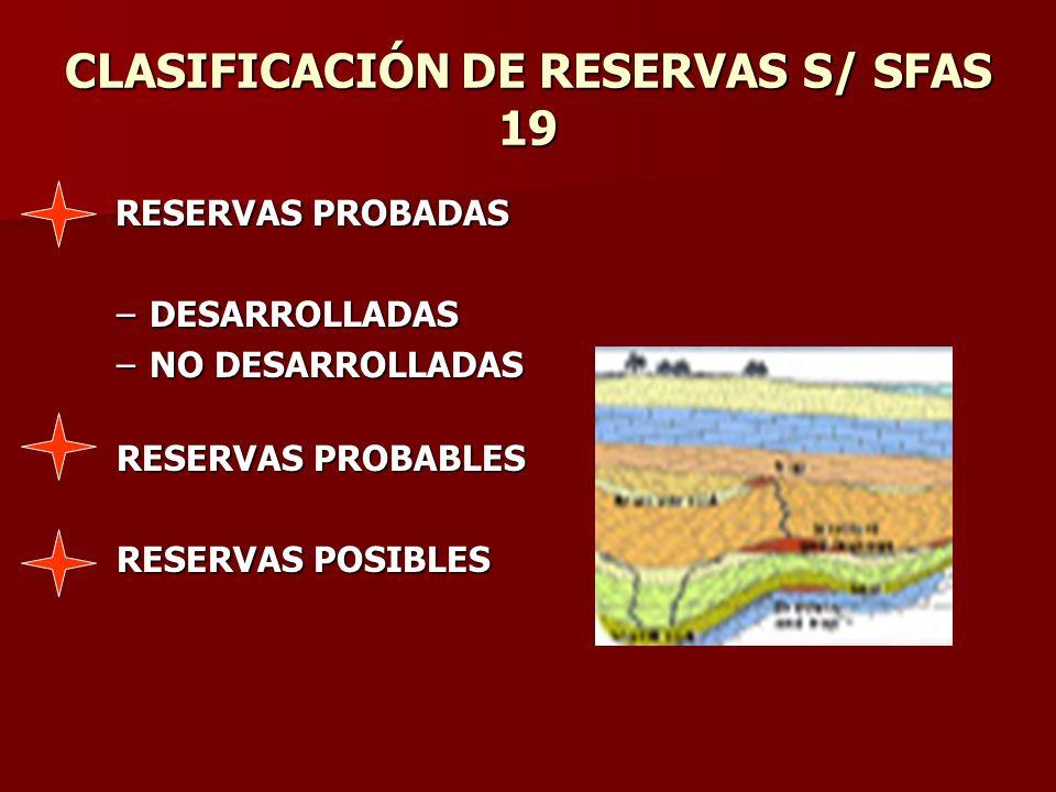CLASIFICACIÓN DE RESERVAS S/ SFAS 19