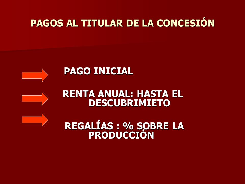 PAGOS AL TITULAR DE LA CONCESIÓN