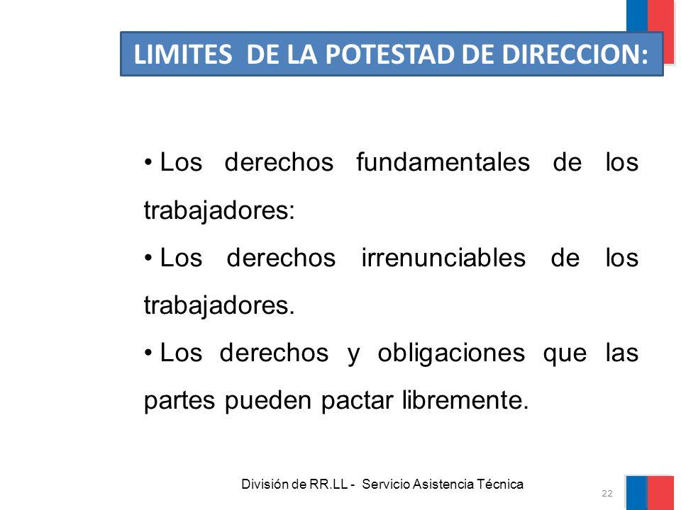 LIMITES DE LA POTESTAD DE DIRECCION: