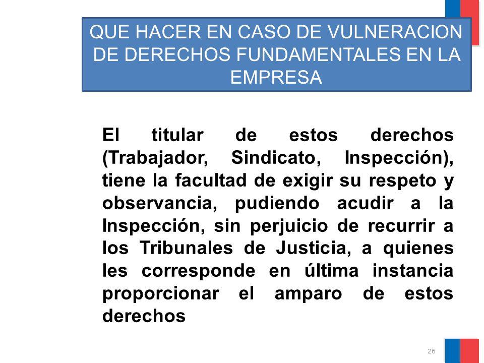 QUE HACER EN CASO DE VULNERACION DE DERECHOS FUNDAMENTALES EN LA EMPRESA