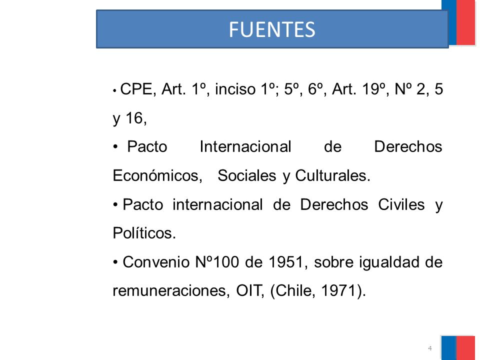 FUENTES CPE, Art. 1º, inciso 1º; 5º, 6º, Art. 19º, Nº 2, 5 y 16, Pacto Internacional de Derechos Económicos, Sociales y Culturales.