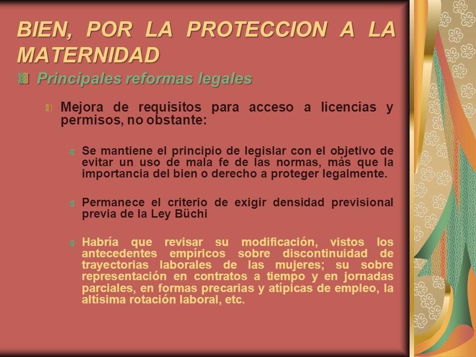 BIEN, POR LA PROTECCION A LA MATERNIDAD
