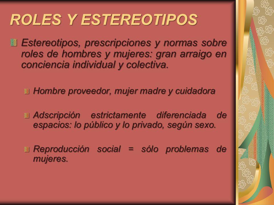 ROLES Y ESTEREOTIPOS Estereotipos, prescripciones y normas sobre roles de hombres y mujeres: gran arraigo en conciencia individual y colectiva.