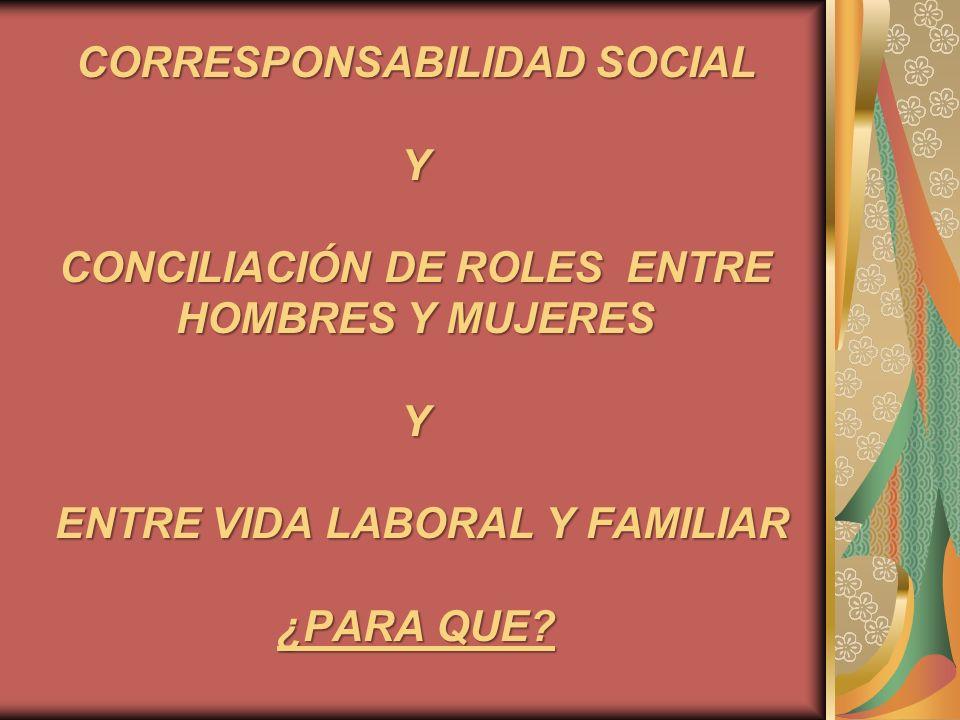 CORRESPONSABILIDAD SOCIAL Y CONCILIACIÓN DE ROLES ENTRE HOMBRES Y MUJERES Y ENTRE VIDA LABORAL Y FAMILIAR ¿PARA QUE