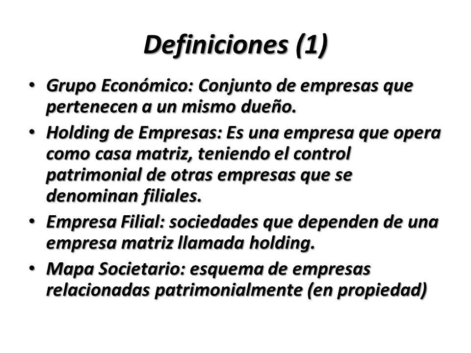 Definiciones (1)Grupo Económico: Conjunto de empresas que pertenecen a un mismo dueño.