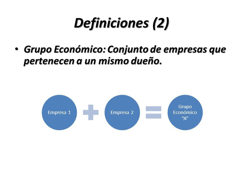 Definiciones (2)Grupo Económico: Conjunto de empresas que pertenecen a un mismo dueño. Empresa 1. Empresa 2.