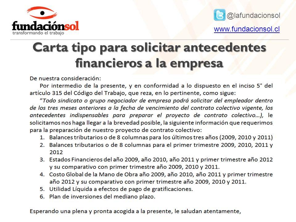 Carta tipo para solicitar antecedentes financieros a la empresa