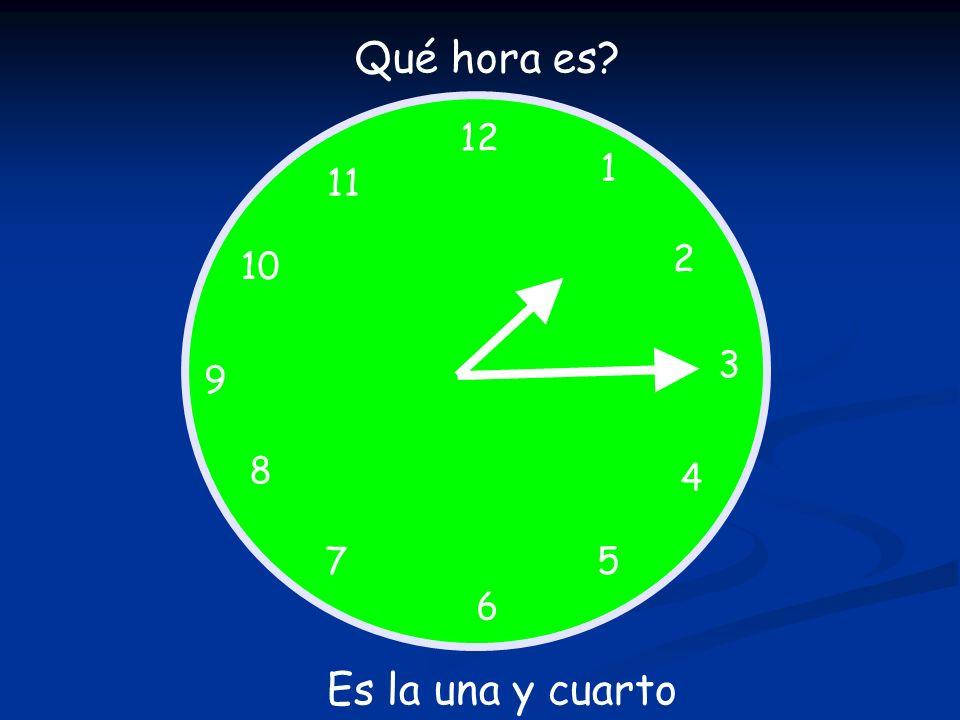 Qué hora es 12 1 11 2 10 3 9 8 4 7 5 6 Es la una y cuarto
