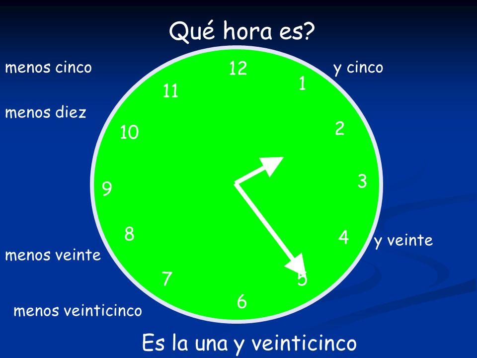Qué hora es Es la una y veinticinco 12 1 11 2 10 3 9 8 4 7 5 6
