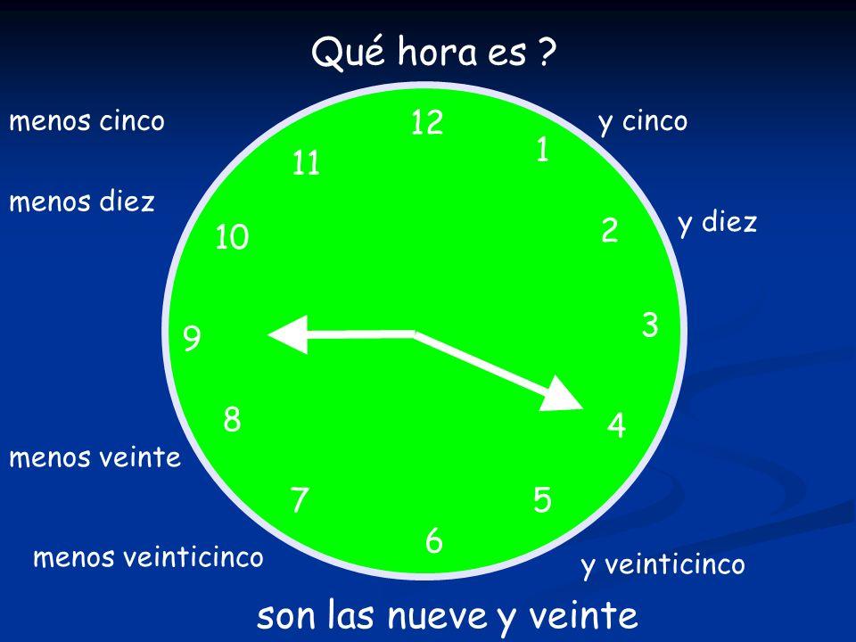Qué hora es son las nueve y veinte 12 1 11 2 10 3 9 8 4 7 5 6