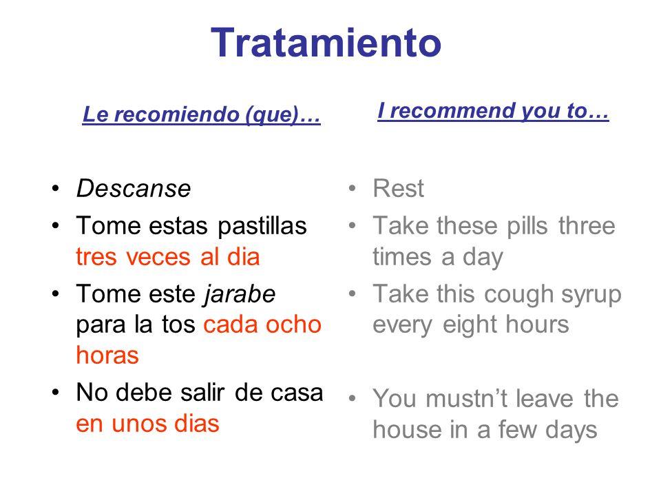 Tratamiento Descanse Tome estas pastillas tres veces al dia
