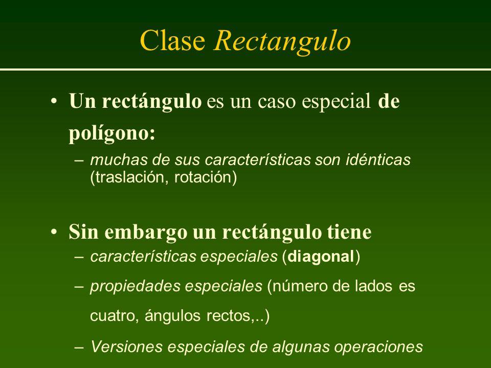 Clase Rectangulo Un rectángulo es un caso especial de polígono:
