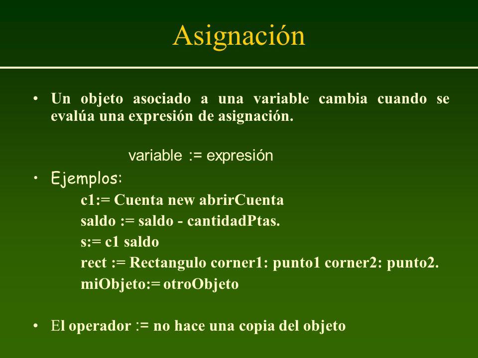 Asignación Un objeto asociado a una variable cambia cuando se evalúa una expresión de asignación. variable := expresión.