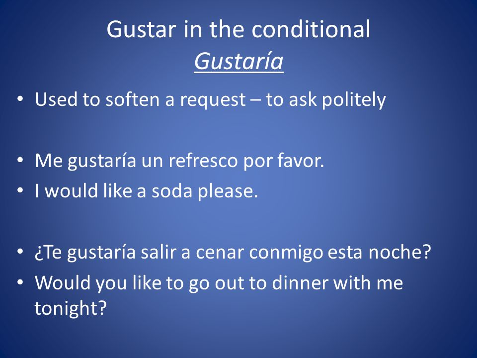 Gustar in the conditional Gustaría