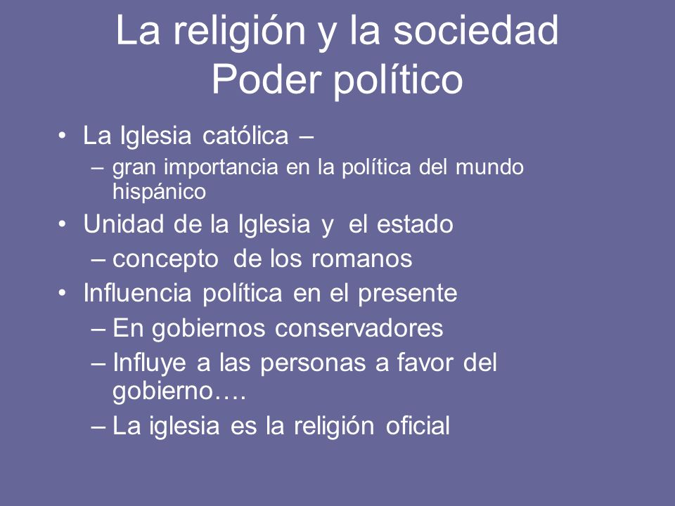 La religión y la sociedad Poder político