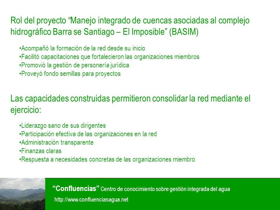 Rol del proyecto Manejo integrado de cuencas asociadas al complejo hidrográfico Barra se Santiago – El Imposible (BASIM)