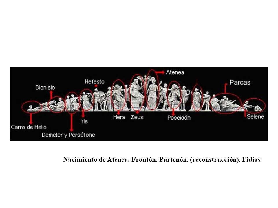 Nacimiento de Atenea. Frontón. Partenón. (reconstrucción). Fidias