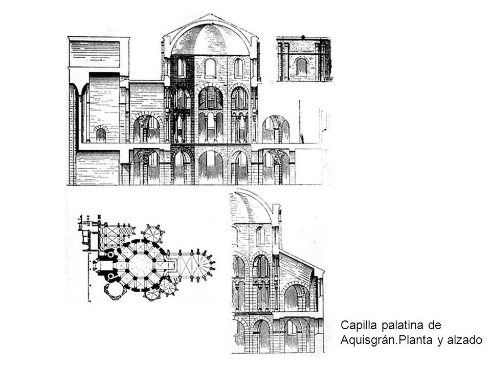 Capilla palatina de Aquisgrán.Planta y alzado