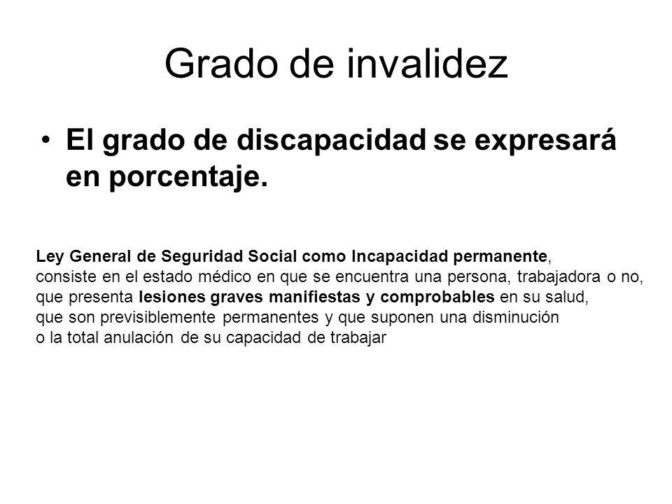 Grado de invalidez El grado de discapacidad se expresará en porcentaje. Ley General de Seguridad Social como Incapacidad permanente,