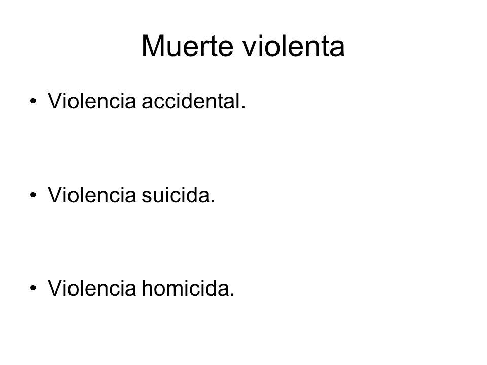 Muerte violenta Violencia accidental. Violencia suicida.