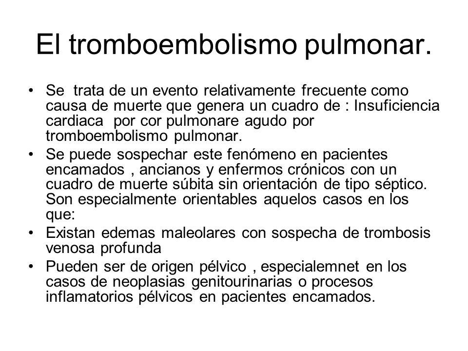 El tromboembolismo pulmonar.