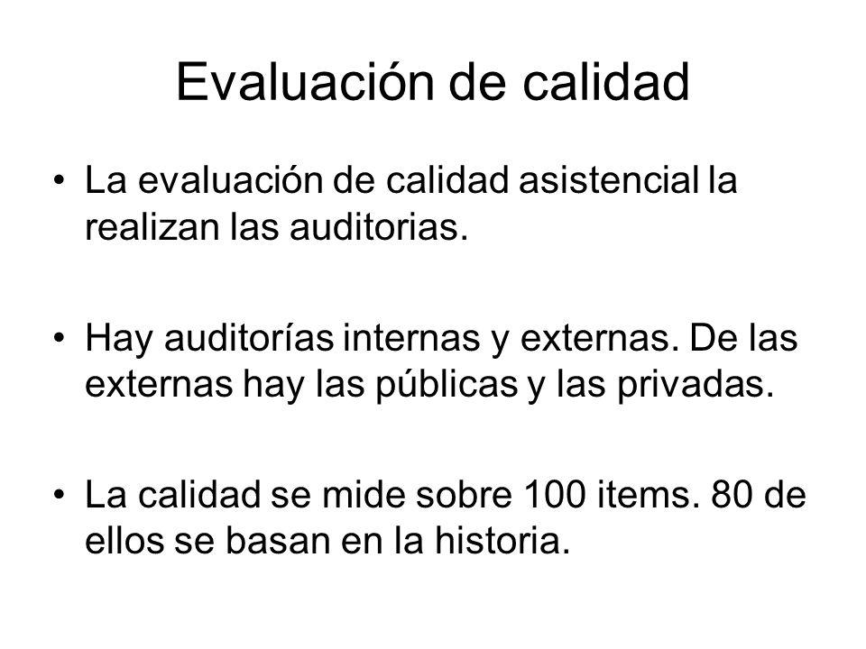 Evaluación de calidad La evaluación de calidad asistencial la realizan las auditorias.