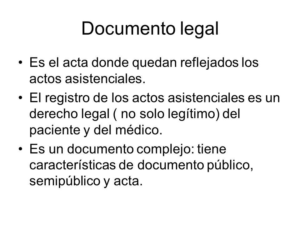 Documento legalEs el acta donde quedan reflejados los actos asistenciales.