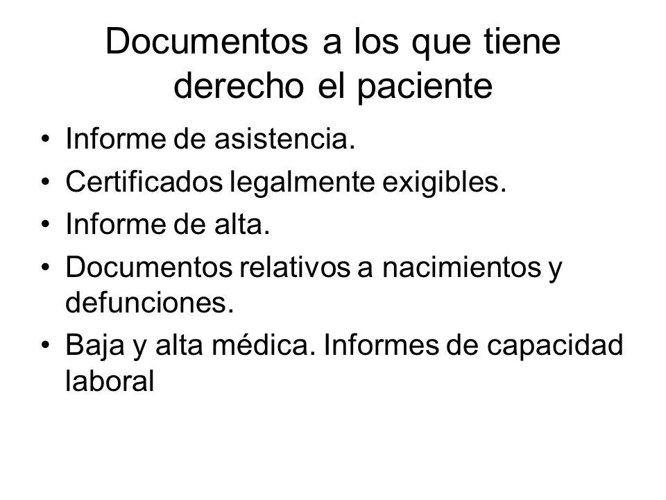 Documentos a los que tiene derecho el paciente