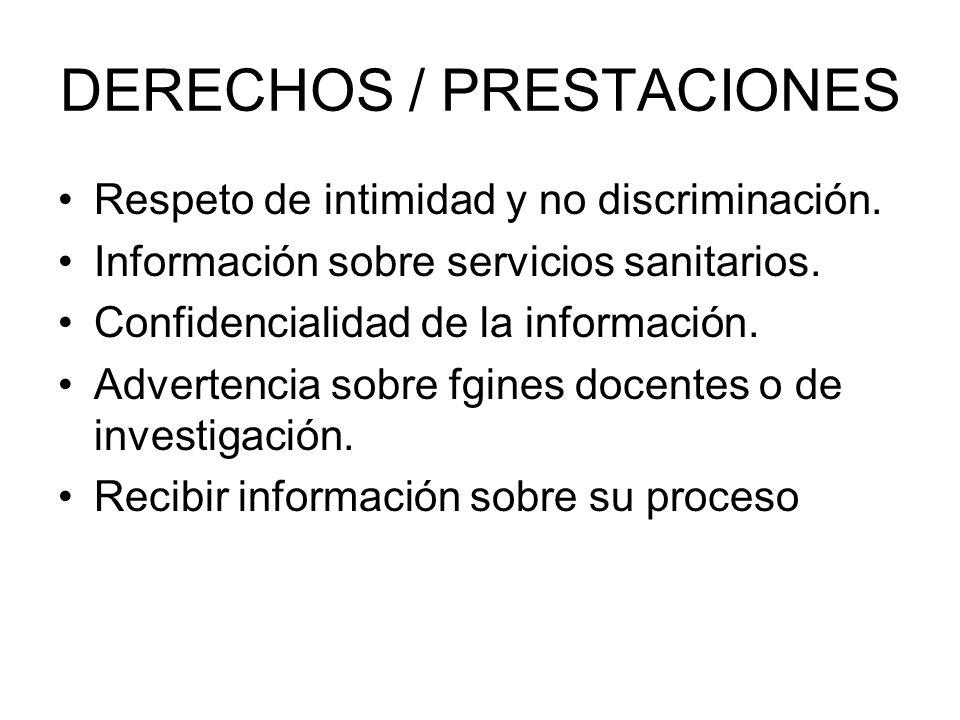 DERECHOS / PRESTACIONES