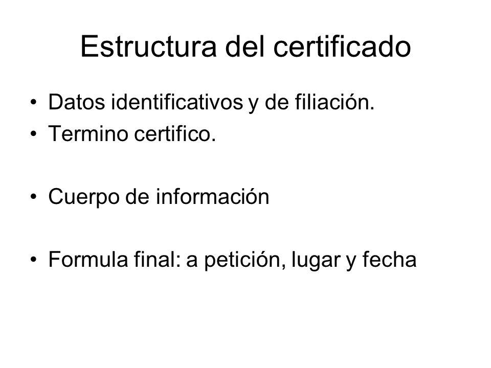 Estructura del certificado