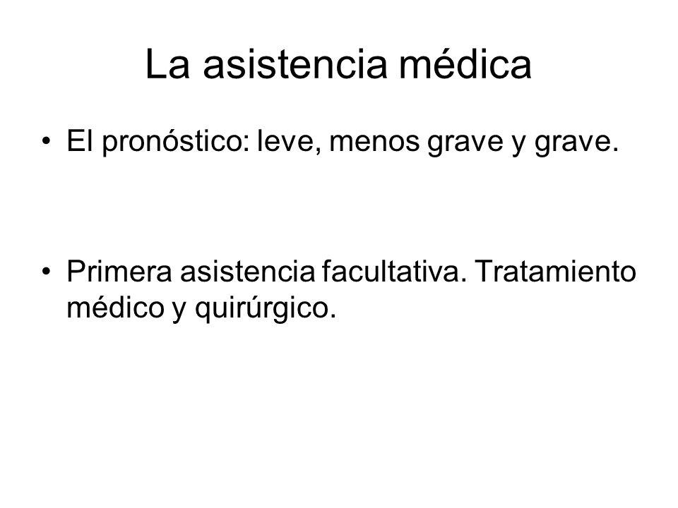 La asistencia médica El pronóstico: leve, menos grave y grave.