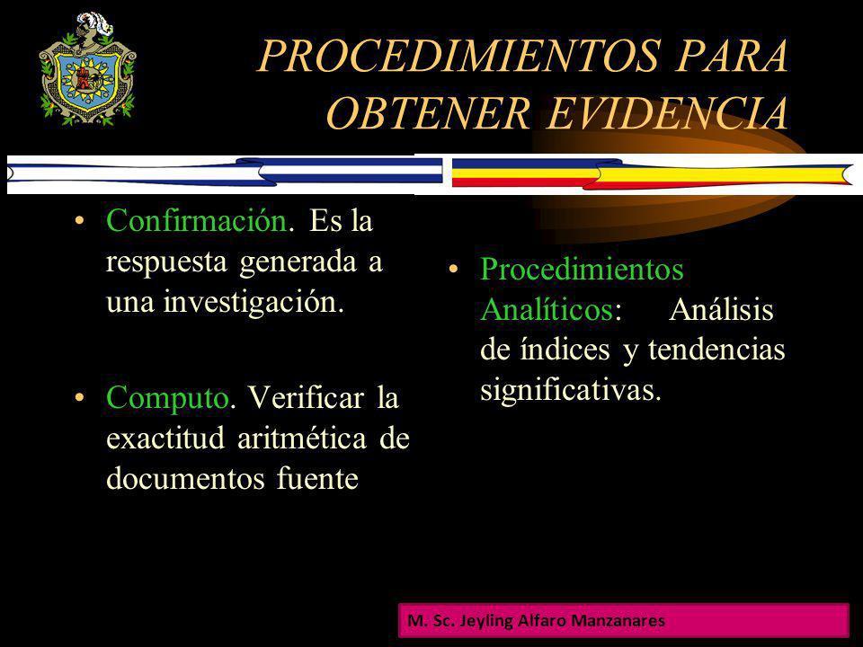 PROCEDIMIENTOS PARA OBTENER EVIDENCIA