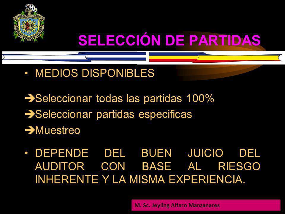 SELECCIÓN DE PARTIDAS MEDIOS DISPONIBLES