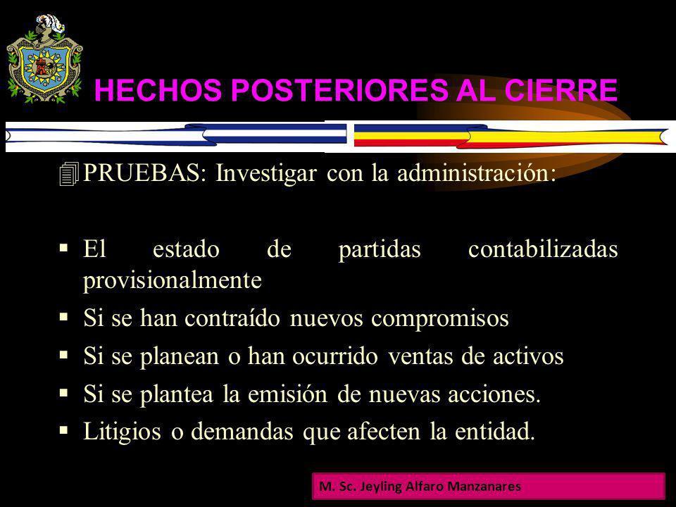 HECHOS POSTERIORES AL CIERRE