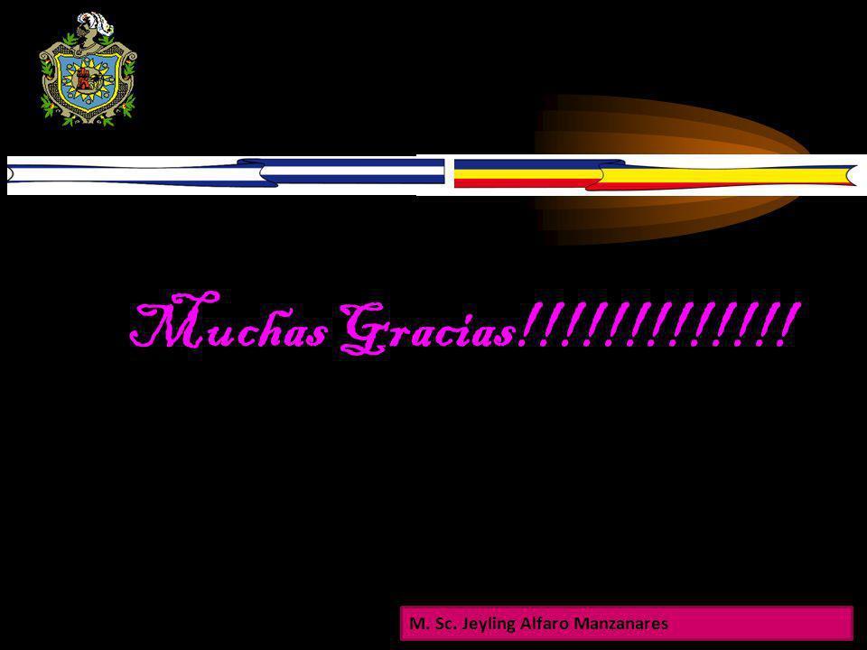 Muchas Gracias!!!!!!!!!!!!! M. Sc. Jeyling Alfaro Manzanares