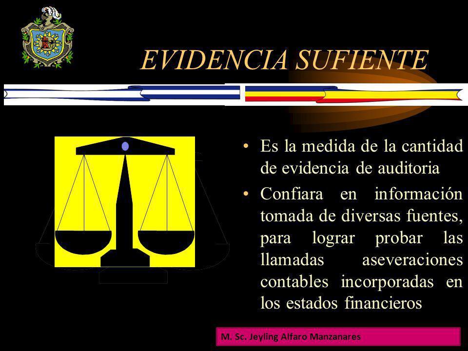 EVIDENCIA SUFIENTE Es la medida de la cantidad de evidencia de auditoria.