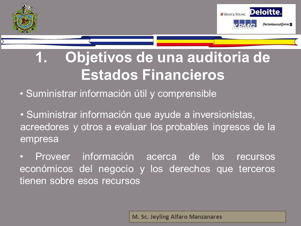 1. Objetivos de una auditoria de Estados Financieros