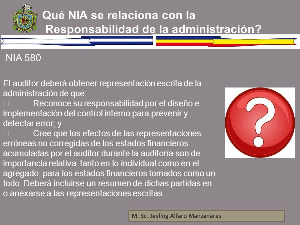 Qué NIA se relaciona con la Responsabilidad de la administración