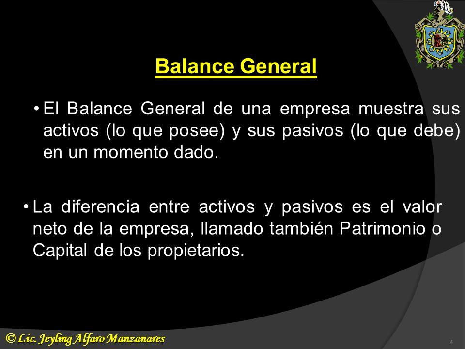 Balance GeneralEl Balance General de una empresa muestra sus activos (lo que posee) y sus pasivos (lo que debe) en un momento dado.