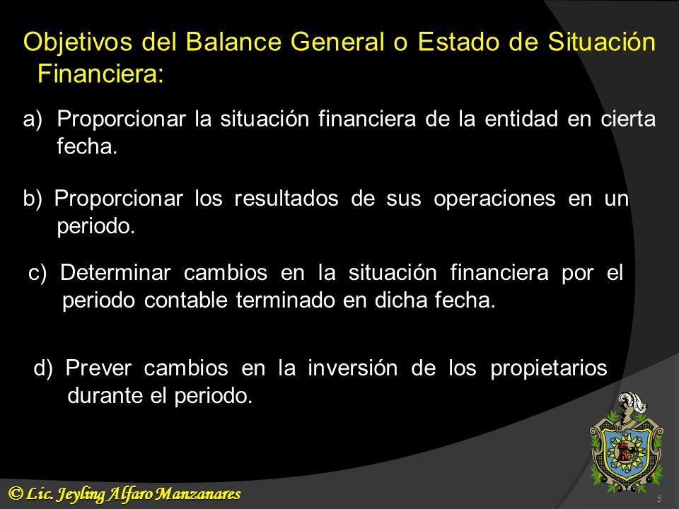 Objetivos del Balance General o Estado de Situación Financiera: