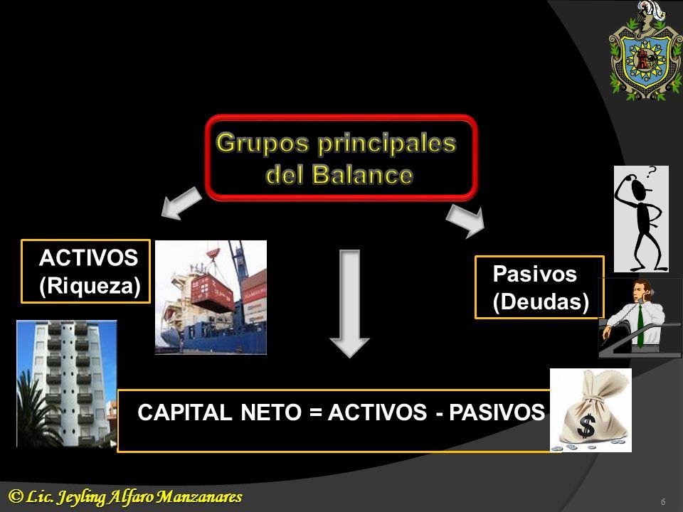 CAPITAL NETO = ACTIVOS - PASIVOS