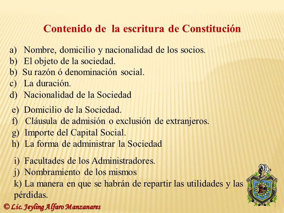 Contenido de la escritura de Constitución