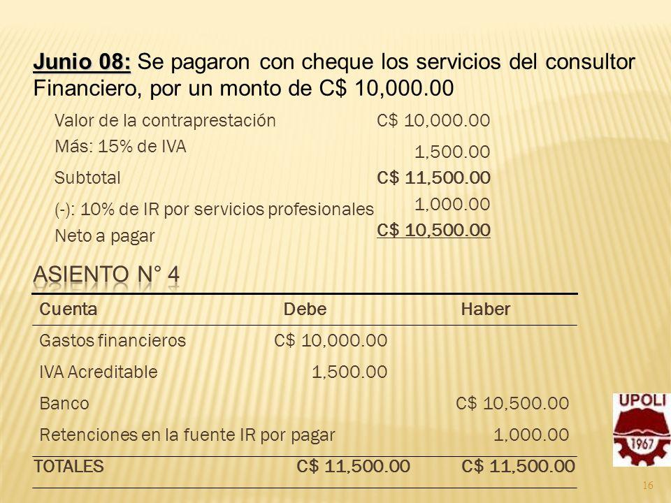 Junio 08: Se pagaron con cheque los servicios del consultor